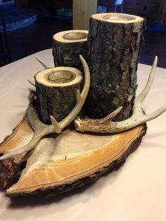 Deer antler/ log candle on Etsy, $50.00