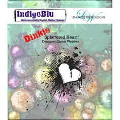 Indigoblu Splattered Heart Dinkie - Limor Webber Signature Range - A7 Red Rubber Stamp by Indigoblu