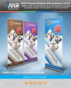 Multipurpose Business RollUp Banner Vol01 — Vector EPS #multipurpes #corporate roll-up • Available here → https://graphicriver.net/item/multipurpose-business-rollup-banner-vol01/4119723?ref=pxcr
