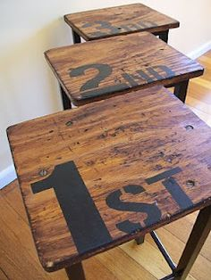 Retro School Stools | The Painted Hive  This site has the COOLEST DIYS for everything. All very Pottery Barn-esque and expensive looking ideas!