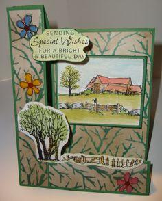 Stepperkaart gemaakt met de Farmhouse scene-it en Country scenes stempelsets. De Verkrijgbaar bij http://www.multihobby.nl/hobbystempels/hobby-clear-stempels-voor-kaarten-maken-en-scrapbooking