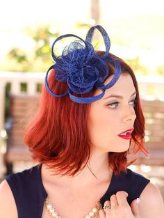 Sinamay Fascinator with feathers and hair comb. Perfect Piece for a wedding, tea party or any other special occasion. -Available in other colors
