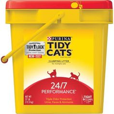 Purina Tidy Cats Clumping Litter, 24/7 Performance for Multiple Cats, 27 lb. Pail, Multicolor