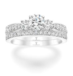 Tolkowsky Diamond Bridal Set In 14k White Gold For The Perfect Combination Of Brilliance And