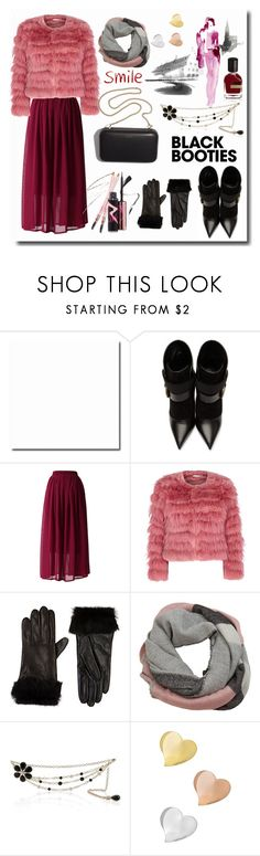 """""""Black Booties"""" by megalyssa ❤ liked on Polyvore featuring Balmain, Chicwish, Alice + Olivia, Barneys New York, Clare V., MANGO, White House Black Market, Newd, Orto Parisi and DK"""
