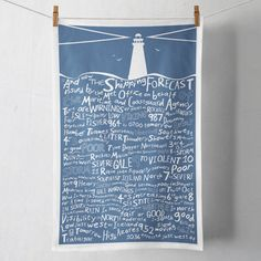 The Shipping Forecast was first broadcast in the 1920s its intended objective was to warn seafarers of impending storms and gales. Its solemn, rhythmic tones has inspired poems, songs, novels and artists. This high quality Tea Towel plays on the words of the forecast in a fun and typographic style; a necessity for any sea farer or nautical themed kitchen.  Designed by myself and professionally digitally printed in the UK on 100% Cotton Tea Towel. 70cm x 46cm. Tea Towel comes in branded…