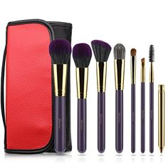 Makeup Brushes, YockTec 8 pieces Brushes Set Professional Blending Blush Eyeliner Face Powder Lip kabuki Contour Foundation Cosmetic Brushes for Powder Liquid Cream with carrying bag. (Purple) *** You can get more details by clicking on the image. (This is an affiliate link) #BrushSets