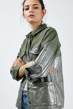 Foil Detailed Lightweight Shacket - Jackets & Coats - Clothing - Topshop