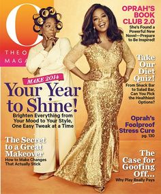 LOVE this gold dress!!!  Oprah Winfrey wears a Gold Gown for the Cover of 'O' Magazine - January 2014