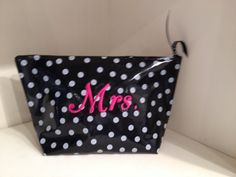 A cute gift for the bride for the wedding day, honey moon and beyond!  This medium cosmetic bag is used for all kinds of things because it is