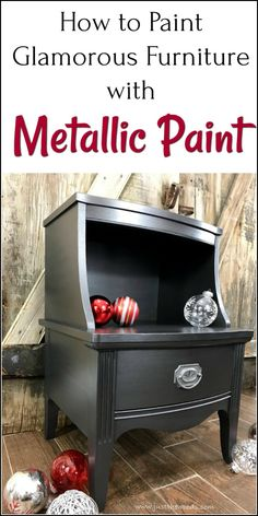 How to Paint Glamorous Furniture with Metallic Paint. Vintage table painted furniture makeover using silver metallic furniture paint. via @justthewoods Furniture Painting Techniques, Painting Metal Furniture, Paint Bedroom Furniture, Wood Furniture, Furniture Design, Painting Tips, Paint Techniques, Furniture Refinishing, Metallic Painted Furniture