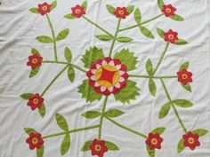 Detail, Exceptional Antique c1850 1870's Hand Appliqued Quilt Top or Coverlet | eBay, vintageblessings