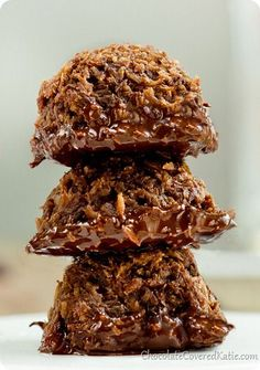 HEALTHY Chocolate Macaroons: http://chocolatecoveredkatie.com/2013/10/11/chocolate-dipped-mocha-coconut-cookies/