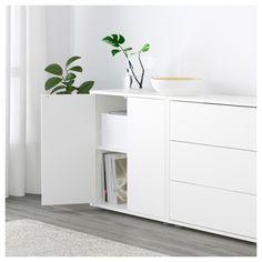 EKET Cabinet combination with feet – white / light gray, dark gray – IKEA - Diy Möbel Home Office Storage, Living Room Storage, Home Office Space, Ikea Under Stairs, Ikea Wall Cabinets, Ikea Eket, Zen Home Decor, Modern Buffet, Muebles Living