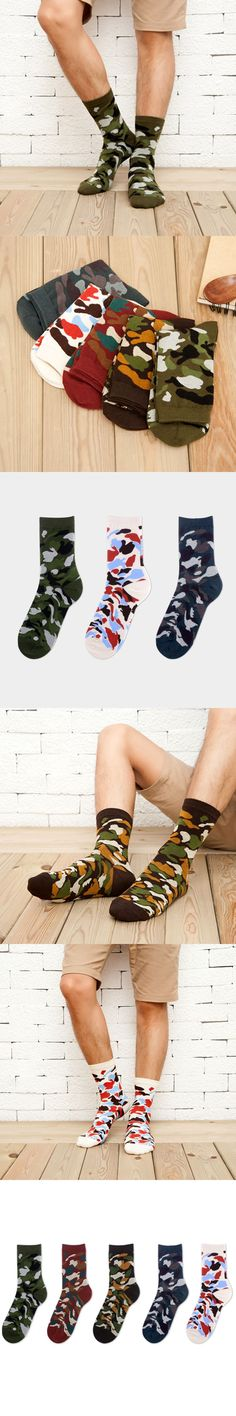 Mantieqingway Medium Tube Socks for Mens Camouflage Leisure Autumn/Winter Cotton Socks Suits Accessories Male Elastic Sock
