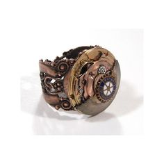 steampunk Rotary ring ❤ liked on Polyvore featuring jewelry, rings, steampunk, watches, accessories, steampunk ring, steampunk jewelry, steampunk jewellery, steam punk jewelry and steam punk ring