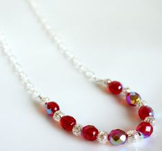 Iridescent red Czech glass necklace...perfect for the holidays!