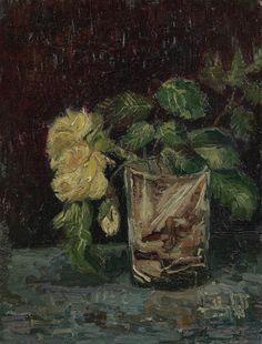 Vincent van Gogh, Glas met gele rozen, 1886, Parijs, olieverf op karton, Van Gogh Museum Amsterdam.