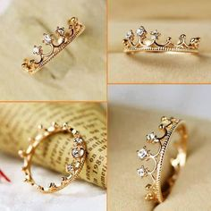 Crown Ring: rose gold with sapphires. Do It Yourself Fashion, Black Gold Jewelry, Ruby Pendant, Cute Rings, Anniversary Rings, Promise Rings, Cute Jewelry, Jewlery, Just In Case