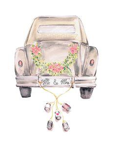 Vintage Wedding Getaway Car Watercolor by MarketteStudio on Etsy