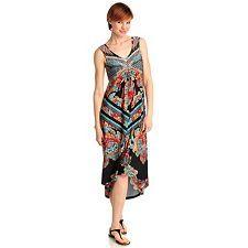 712-494 - One World Stretch Knit Sleeveless Bling Front Hi-Lo Maxi Dress