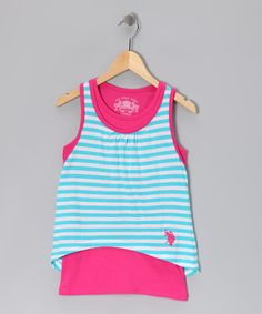 Take a look at this Pink & Turquoise Stripe Layered Tank by U.S. Polo Assn. on #zulily today!