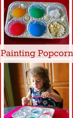 Painting Popcorn! A great way to have a fun craft and to get your children to eat! Food Coloring Paint for your Popcorn! Repin because your children will love this! Set it up while your cooking dinner to give them an activity to do!
