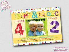 Items similar to Double Dots - Sibling or Friend Combo Birthday Party Invitation (Digital File OR Cardstock Printed Cards Also Available) on Etsy Double Dots – Sibling or Friend Combo Birthday Party Invitation (Digital File OR Cardstock Printe Combined Birthday Parties, Sibling Birthday Parties, Joint Birthday Parties, Birthday Fun, Birthday Party Themes, Birthday Ideas, Brother Birthday, Friend Birthday, Birthday Cards
