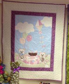 Teddy bears picnic quilt from panel