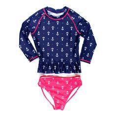 Nautica swimsuit, rashguard and bottom, swimsuit with anchors, girls swimwear