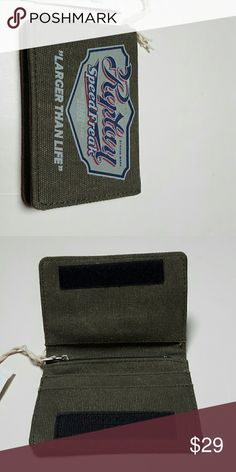 Mens Replay Cotton Canvas Wallet Speed Freak Mens Replay Cotton Canvas Wallet Bi-fold with velcro closures Zip change pocket, 2 multi-card pockets, and upper pocket Blue, gray and retro Replay Speed Freak text on the front Green base New with tags Replay Bags Wallets