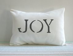 White Joy Pillow Cover Christmas Choose Color by CariJoyDesigns, $23.00