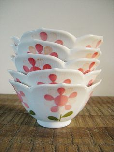 Set of Five Vintage Porcelain Lotus Bowls with Pink by ObjetLuv, $23.00
