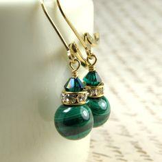 Malachite Earrings Green Gemstone Gold Filled by fineheart on Etsy, $32.00