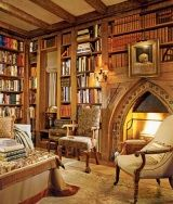 Fireplace idea - wood mantels and shelves Holy freaking moly it's like the Gryffindor common room I made in my head.