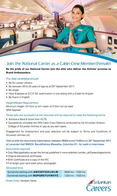 SriLankan Airlines is seeking the candidate for Cabin Crew position.