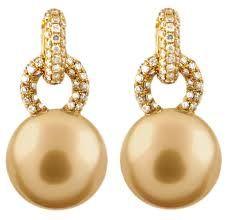 gold pearl earrings - Google Search