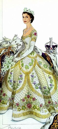 The Queen chose the late Sir Norman Hartnell to design her Coronation gown, Embroidered with the Tudor Rose (England) Leek (Wales)  Thistle (Scotland) Shamrocks (Ireland) Maple Leaves (Canada) Wattle Flowers (Australia) Ferns (New Zealand)  Wheat, Cotton, Jute (Pakistan) Proteas (South Africa)