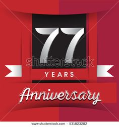 77 years anniversary logo with white ribbon isolated on red background, flat design style, Vector template elements for birthday celebration