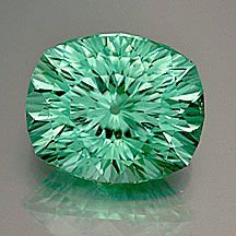 "Tourmaline Concave""GlowUC"" Cut Cushion   Weight: 3.78 cts.     Measurements:10.4x8.7mm, depth  6.9mm  ~  ""WOW"". Bright and brilliant to the max. Gorgeous minty green, clean, fantastic stone! (Cut by Andrew Gulij)   From  Mozambique"