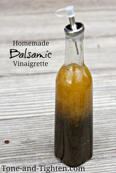 Homemade Balsamic Vinaigrette Salad Dressing from Tone-and-Tighten.com. So easy to make with common ingredients! #homemade