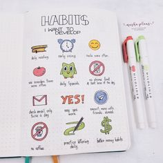The Ultimate Guide To Bullet Journal Habit Trackers Masha ( habits I want to implemen (or at least try to) in A fun and motivational spread in my Bullet Journal. Bullet Journal Lists, Self Care Bullet Journal, Bullet Journal Banner, Bullet Journal Notebook, Bullet Journal Aesthetic, Bullet Journal Themes, Bullet Journal Inspo, Bullet Journal Spread, Bullet Journal Entries