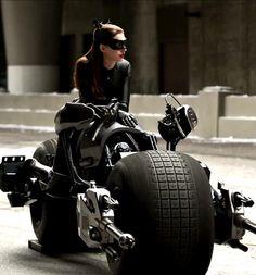 Cat woman and her super bike.
