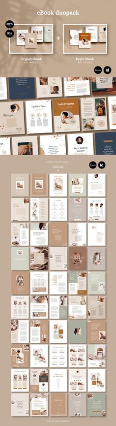 eBook duopack is amazing collection of two professionally designed ebook templates Kayla & Elegant available for CANVA or INDESIGN. | #ebook #template #canva #indesign #cover #blogging #brochure #magazine #portfolio #digital #marketing #planner #workbook #duo #duopack #business #proposal #course #webinar #kayle #elegant #project #editable #indd #idml #paragraphstyle #printready