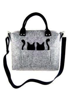 Cat Bag Felt Bag Coffer Large Gift Kitty Kitten Pet Tote Purse Women Designer Handmade Handbag Shoulder Crossbody Bag Valentine's Gift Felt Purse, Tote Purse, Crossbody Bag, Felt Bags, Handmade Handbags, Handmade Bags, Handmade Felt, Diy Sac, Cat Bag
