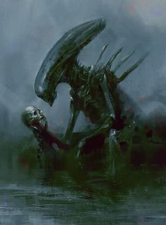 Giger tribute by DeviantArt artist Halil Ural. Alien Vs Predator, Predator Alien, Arte Alien, Alien Art, Xenomorph, Arte Horror, Horror Art, Horror Icons, Crop Circles