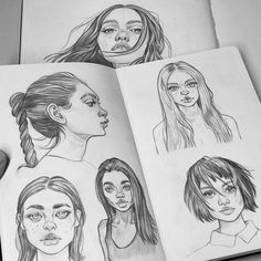 Pencil sketches from my Moleskine! Just practicing some hairstyles, I hate drawing hair so I find these super useful to do as often as possible!  See more on my Patreon!