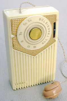 1950s transistor radio   I worked babysitting all week in order to pay off my transistor. It was worth it though, being able to take my music with me.