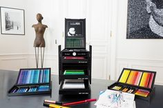 Chanel Creative Director Karl Lagerfeld has teamed up with Faber-Castell on a limited edition art supplies box. Karl Lagerfeld, Adult Coloring, Coloring Books, Coloring Set, Graf Von Faber Castell, Crayon Box, Artist Sketchbook, Polychromos, Business Design