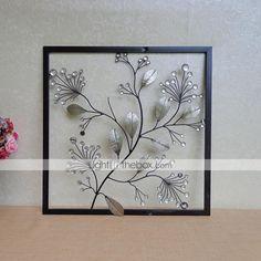 E-HOME® Metal Wall Art Wall Decor, Silver Leaf Wall Decor One PCS - USD $ 119.99